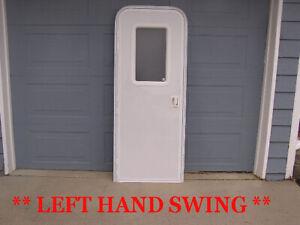 RV LH Trailer Motor Home Complete Entry W/ Door Window Lock w/ Key - Screen Jam