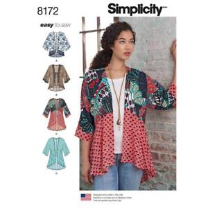 Simplicity Sewing Pattern 8172 Easy to Sew Kimono Jackets Misses Size 4 - 26