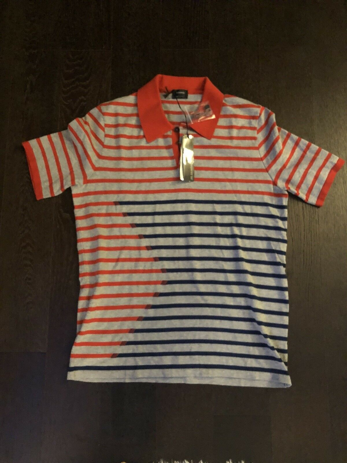 Jil Sander color Strip Polo Shirt Red bluee Grey Sz L