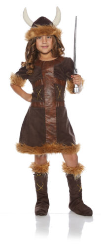 Viking Girl Child Barbarian Hunter Brown Halloween Costume