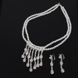 Collier-Halskette-mit-Ohrringen-Perlen-Strass-Kette-Modeschmuck-Hochzeit