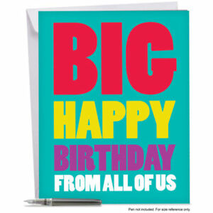 Greeting Cards J3900BDG Jumbo Funny Birthday Card Big Happy From Us With Size