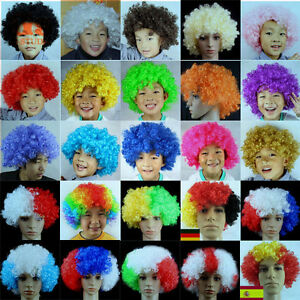 Multi-Color-BOB-Afro-Wig-Clown-Disco-Circus-Costume-Curly-Hair-Wig-Adult-Child