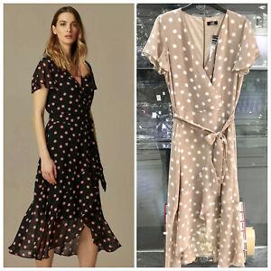 Wallis-Black-Beige-Polka-Dot-Print-Wrap-Midi-V-Neck-Dress-Size-10-20