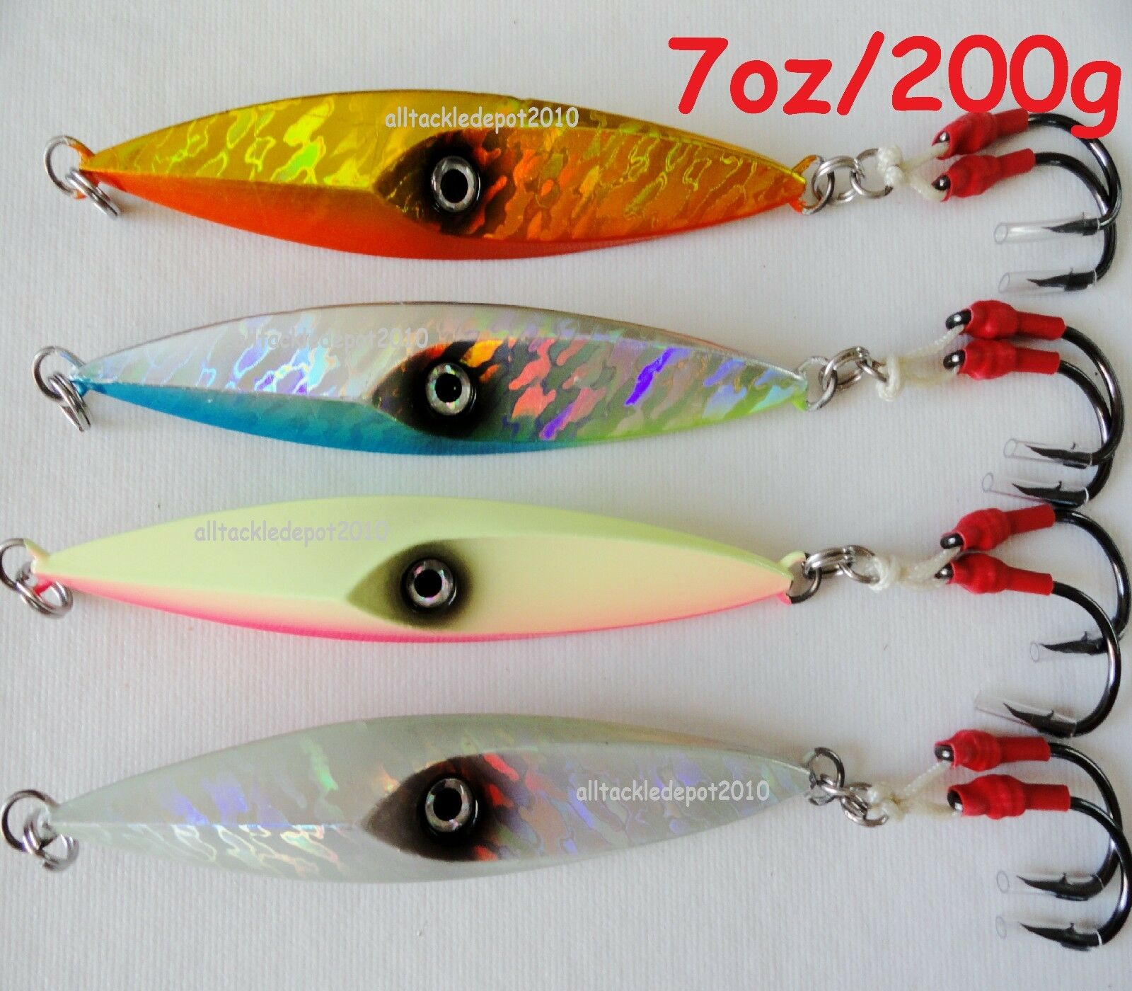 7oz 200g Jigging Diamond Jigs Saltwater Fishing Lures Choose Colorees & Pieces