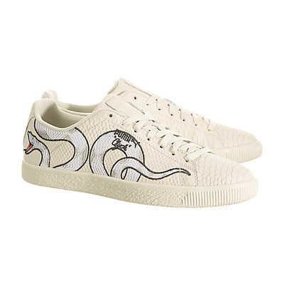 Puma Clyde Snake Embroidery Shoes 36811101 Size 11.5 Off White Cream 192339067738 | eBay