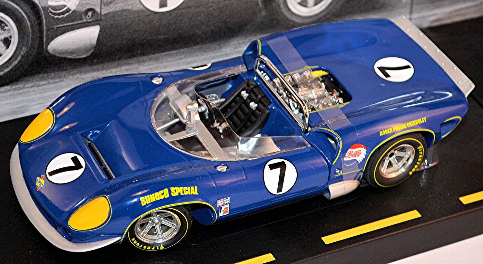 Lola T70 Mk III Spyder Mark Donohue Can-Am 1966 Sunoco bluee bluee 1 18 Gmp