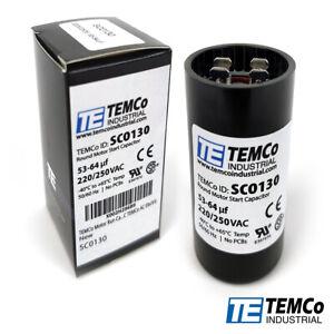 TEMCo-53-64-uf-MFD-220-250-VAC-volts-Round-Start-Capacitor-50-60-Hz-Lot-1