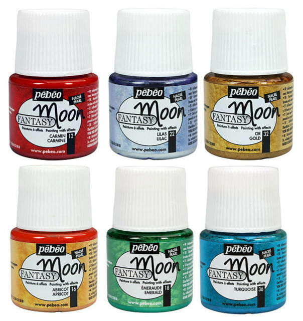 Pebeo FANTASY MOON Multi Surface Marble Effect Craft Paint 45ml Pot ALL COLOURS