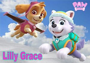 Childrens-Kids-A4-Paw-Patrol-Everest-amp-Skye-dinner-mat-place-mat-Personalised