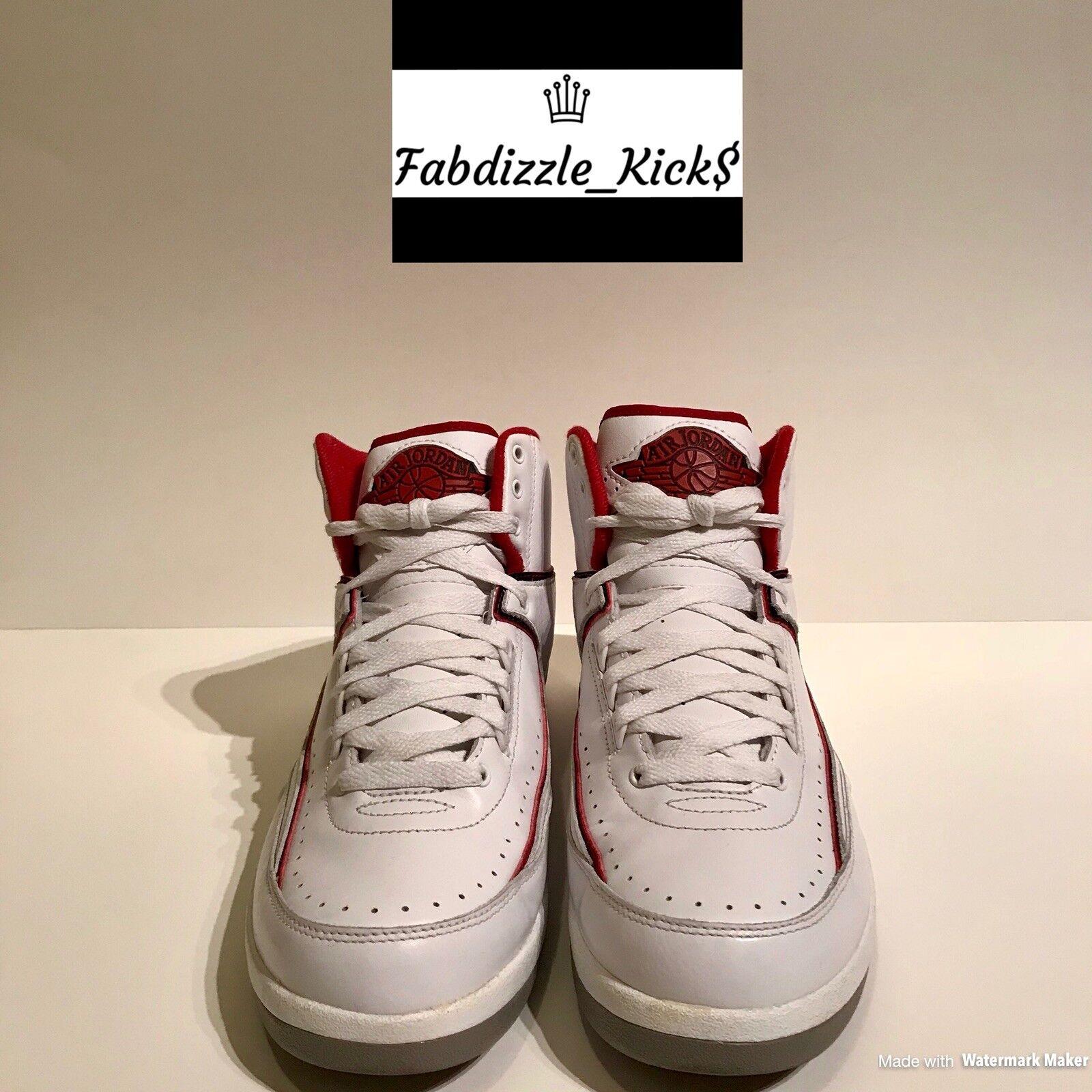 Air Jordan 2 Retro Colorway White/Black-Varsity Red- Size 8