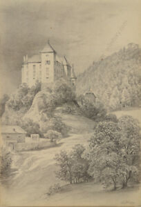 "Otto Arnz Drawing Ca ""burg Wildegg By Vienna"" 1850 Good Companions For Children As Well As Adults 1823-aft. 1860"