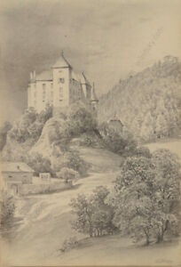 "Otto Arnz Ca Drawing ""burg Wildegg By Vienna"" 1850 Good Companions For Children As Well As Adults 1823-aft. 1860"