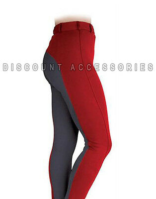 NEW SOFT STYLISH TWO TONE LADIES HORSE RIDING JODHPURS JODS JODPHURS RED GREY