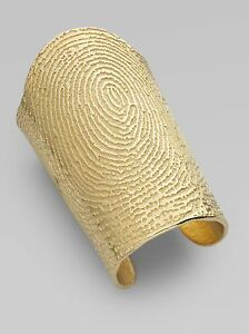 697b08b6290 Image is loading Yves-Saint-Laurent-YSL-Gold-Fingerprint-Bracelet-Cuff