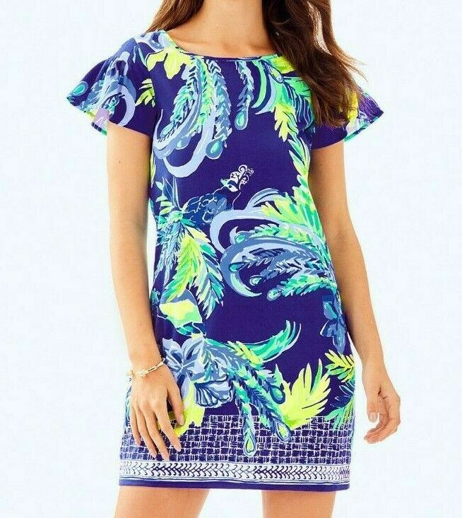 New Lilly Pulitzer MARAH DRESS Twilight bluee Nest To Nothing Engineered Dress M