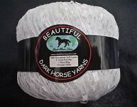 Dark Horse Beautiful Ladder Ribbon Yarn Snow White Silver Sparkle 50 Grams