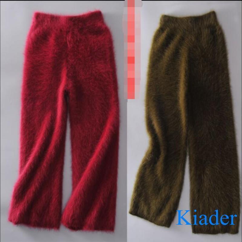 Women Warm Mink Cashmere Fur Broad Leg Pants Long  Wide Leg Fashion Trousers Hot