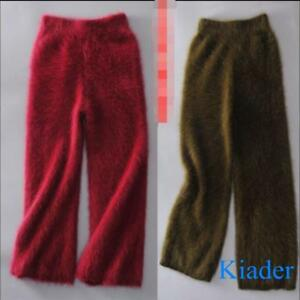 Women-Warm-Mink-Cashmere-Fur-Broad-Leg-Pants-Long-Wide-Leg-Fashion-Trousers-Hot