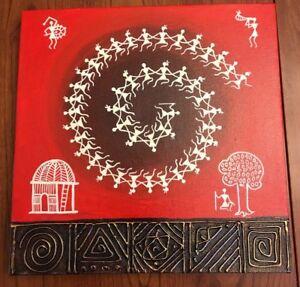Warli-Painting-Stretched-Canvas-Wall-Art-Mumbai-India-12-034-x12-034-Red-White-Bronze