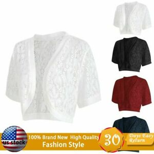 Summer-Women-039-s-Cardigan-Fashion-Short-Sleeve-Lace-Cropped-Shrug-Bolero-Cardigan