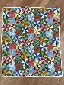 Vintage Small Hand Made Crib Size Quilt - Padded Blanket