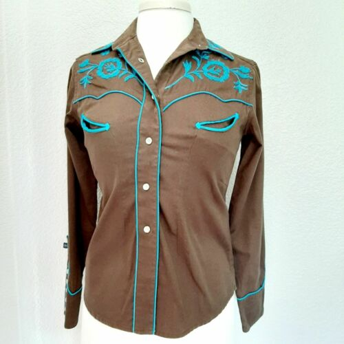 Rockmount Ranch Wear Brown w/Teal Cowgirl Shirt Si