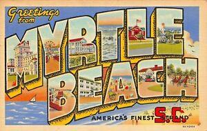 MYRTLE-BEACH-SOUTH-CAROLINA-LARGE-LETTER-FINEST-STRAND-1942-POSTMARK-POSTCARD