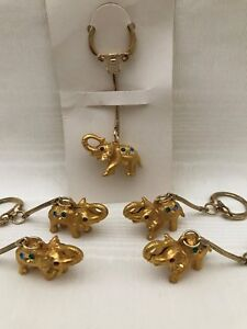 Set-of-5-Vintage-NOS-Goldtone-Jeweled-Elephant-Key-Chains-Ring-Fob