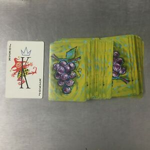 Vintage-Kent-Plastic-Coated-Playing-Cards-Grape-Design-OPENED-USED