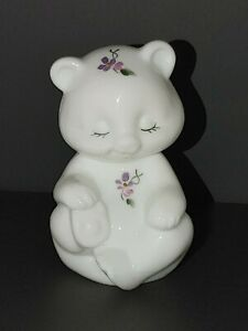 Fenton-Lilacs-on-Milk-Glass-Bear-Hand-Painted-by-V-Gherke-Pansy-Violets