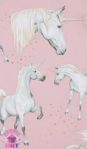 Alexander Henry Nicole/'s Prints Stars of the Unicorn Metallic Pink Cotton Fabric
