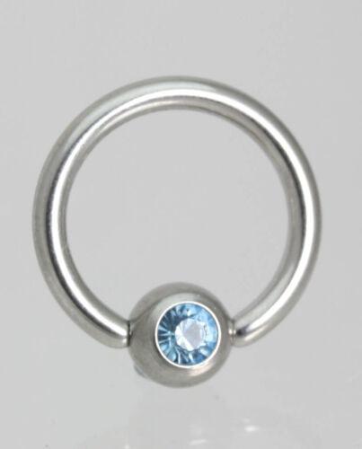 Personal- Lip Ball Closure Ring with CRYSTAL Gem- Tragus Eye Navel