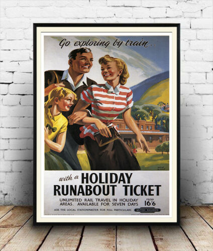 Old Travel Poster reproduction Holiday runabout ticket