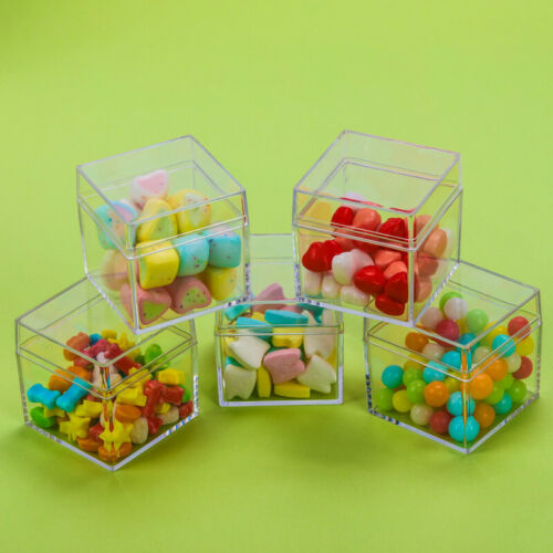 12 Transparent Cube Wedding Favor Candy Box Plastic Clear Sweet Gift Boxes Xmas
