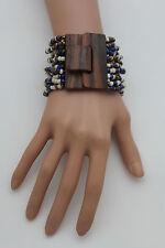 Women Colors Beads Wrist Bracelet Elastic Band Brown Wood Buckle Bangle Braided