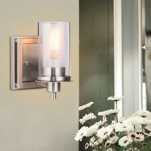 Details about Bedroom Bright One-Light Brushed Wall-Mounted Nickel Bulb  Vanity Light Wall Lamp