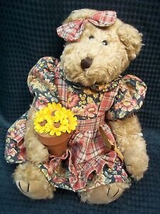 Beautiful-11-034-Jointed-Artisan-GARDENING-Teddy-Bear-by-Ms-Elle-039-s-Collection