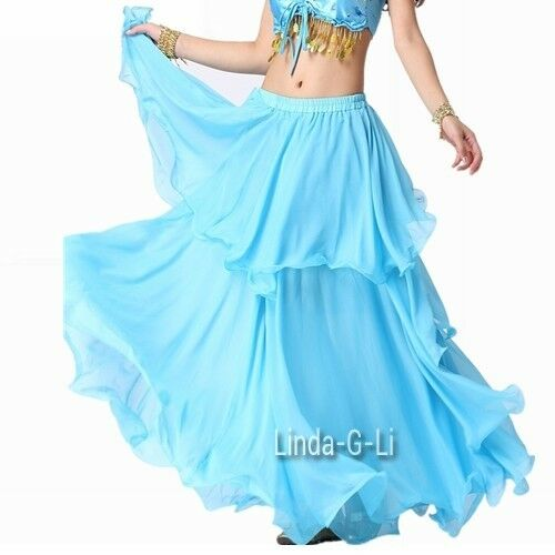Chiffon Dancing Costume Belly Dance Spiral Long Skirt 3 layers  9 Colors 1/2345