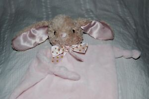 Dandee Tan Bunny Baby Pink Security Blanket dot bow knotted corners rattle lovey