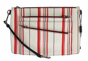 6ca7b1ab7 NWT $1000 DOLCE & GABBANA Mens Bag White Red Striped Linen Leather ...