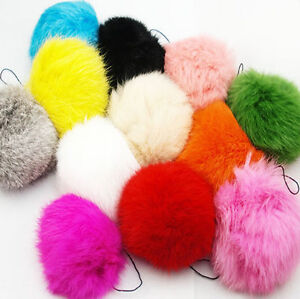 378f0ac117 8cm 1PC Soft Fluffy Rabbit Fur Pom Poms Ball Keychain Keyring Charm ...