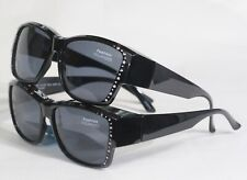 Modern Solar Shield Fits Over Sunglasses Polarized Black Silver Medium 100/%UV