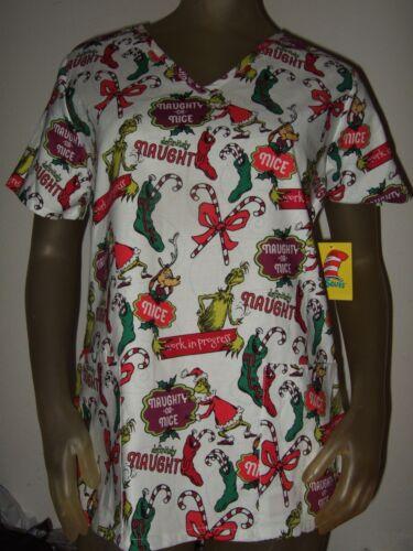 New Women/'s How The Grinch Stole Christmas Max Dr Seuss Nurses Vet Scrubs Shirt