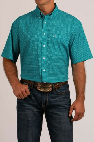Cinch Men/'s ArenaFlex Dark Teal Printed Short Sleeve Shirt MTW1704048