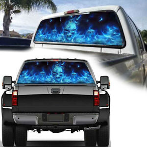 Hot-Sale-Car-Stickers-165-56cm-Flaming-Skull-Rear-Window-Graphic-Decal-Wrap-Back