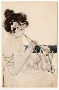 RAPHAEL-KIRCHNER-Art-Nouveau-UDB-Postcard-Maid-of-Athens-2-UNUSED-1900
