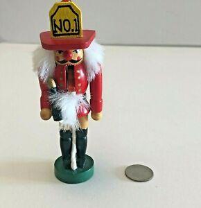 Miniature Nutcraker Wooden Fireman Ornament 4.25 Inches