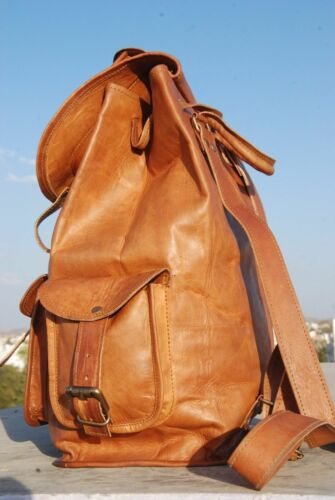 Men/'s and Women/'s New Brown Leather Back Pack Rucksack Travel and College Bag