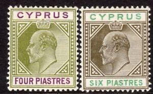 Cyprus-1902-olive-green-purple-4pi-sepia-green-6pi-crown-CA-mint-SG54-55